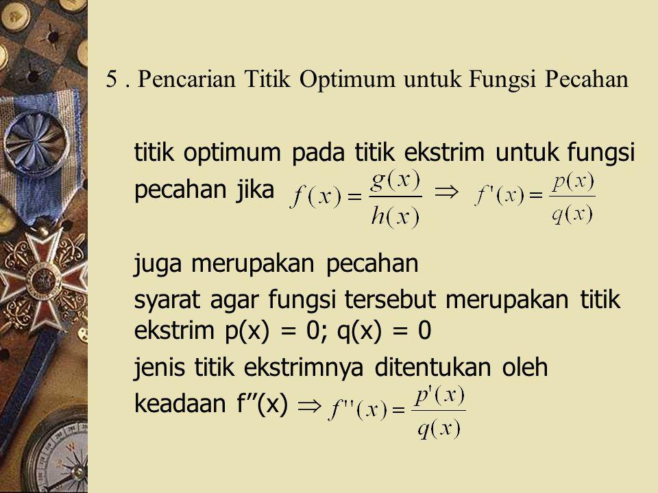 5 . Pencarian Titik Optimum untuk Fungsi Pecahan