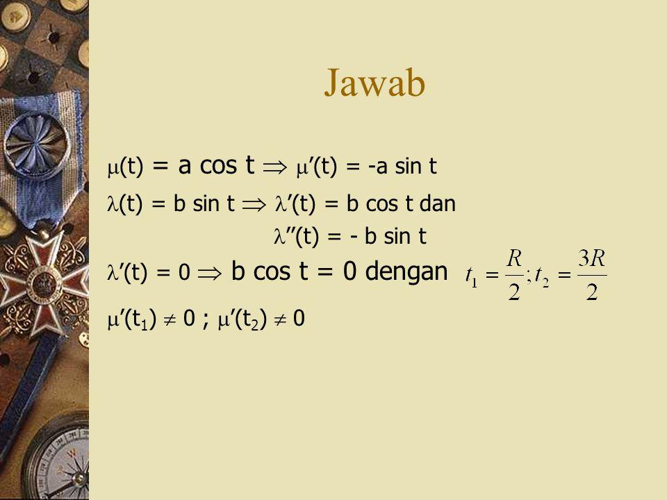 Jawab (t) = a cos t  '(t) = -a sin t