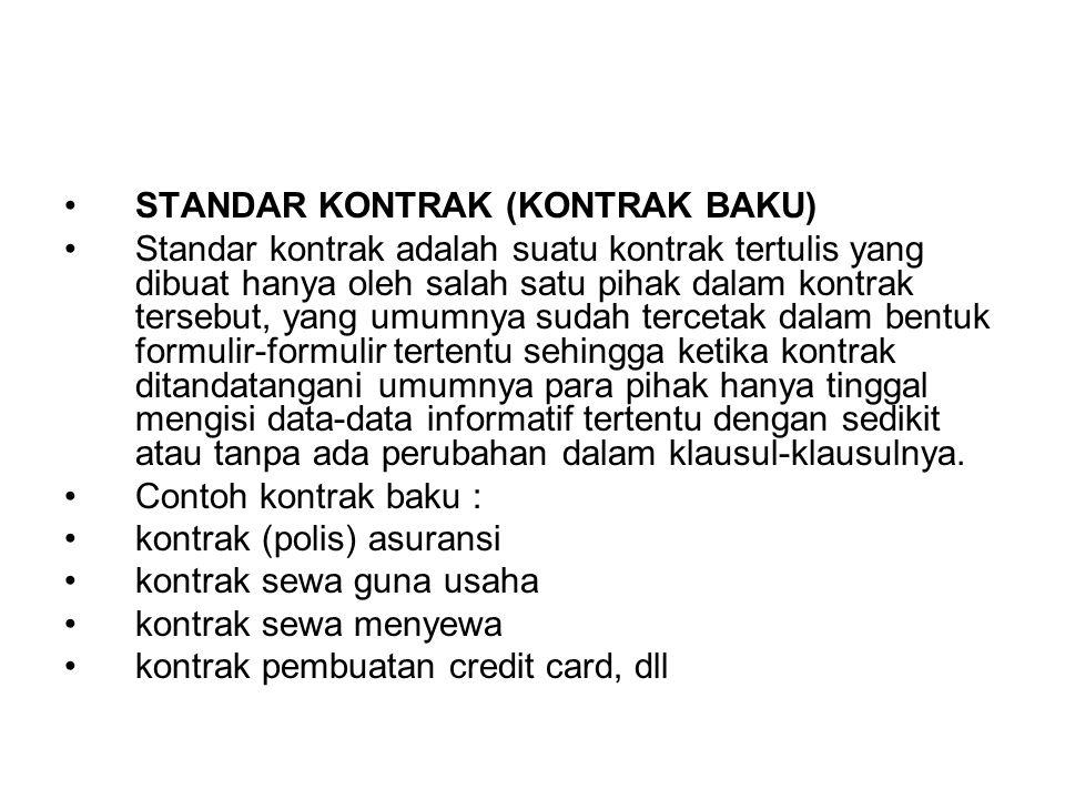 STANDAR KONTRAK (KONTRAK BAKU)