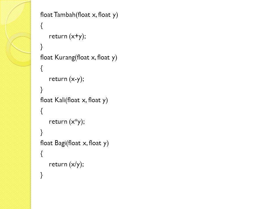 float Tambah(float x, float y)