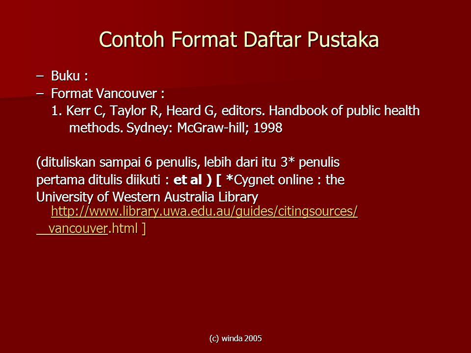 Contoh Format Daftar Pustaka