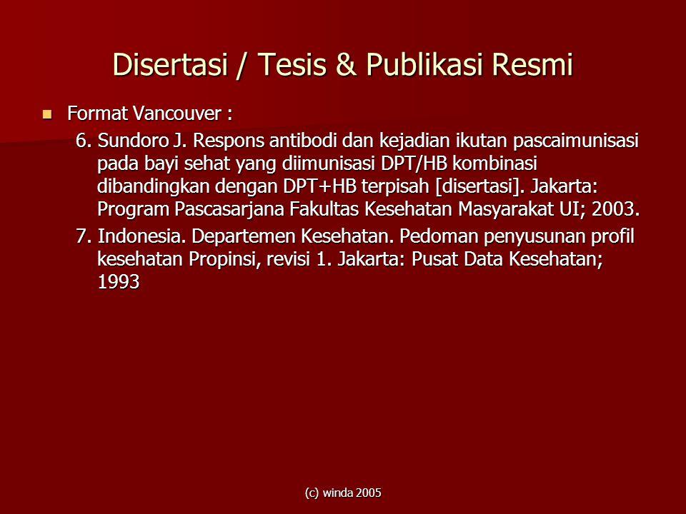 Disertasi / Tesis & Publikasi Resmi