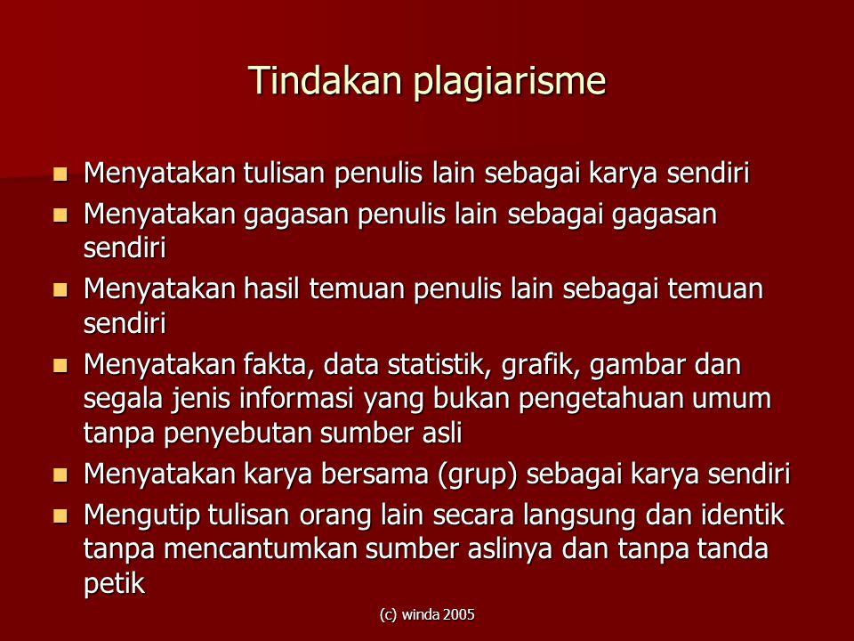 Tindakan plagiarisme Menyatakan tulisan penulis lain sebagai karya sendiri. Menyatakan gagasan penulis lain sebagai gagasan sendiri.