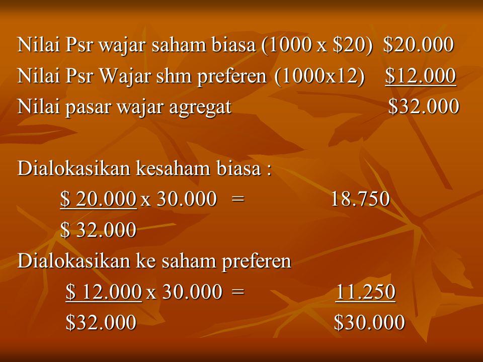 Nilai Psr wajar saham biasa (1000 x $20) $20.000
