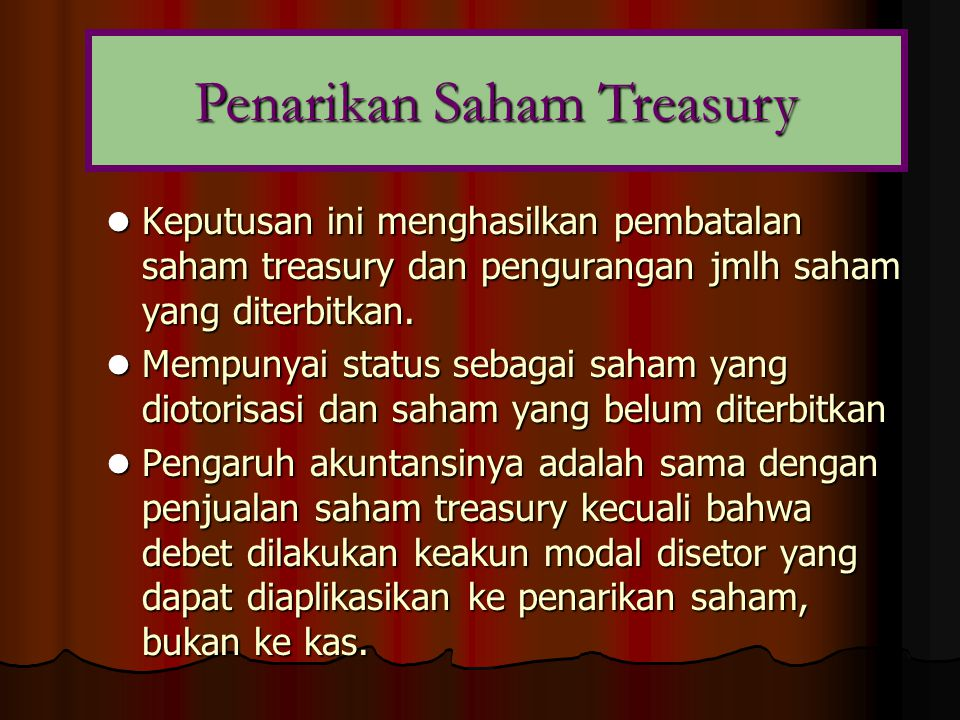 Penarikan Saham Treasury