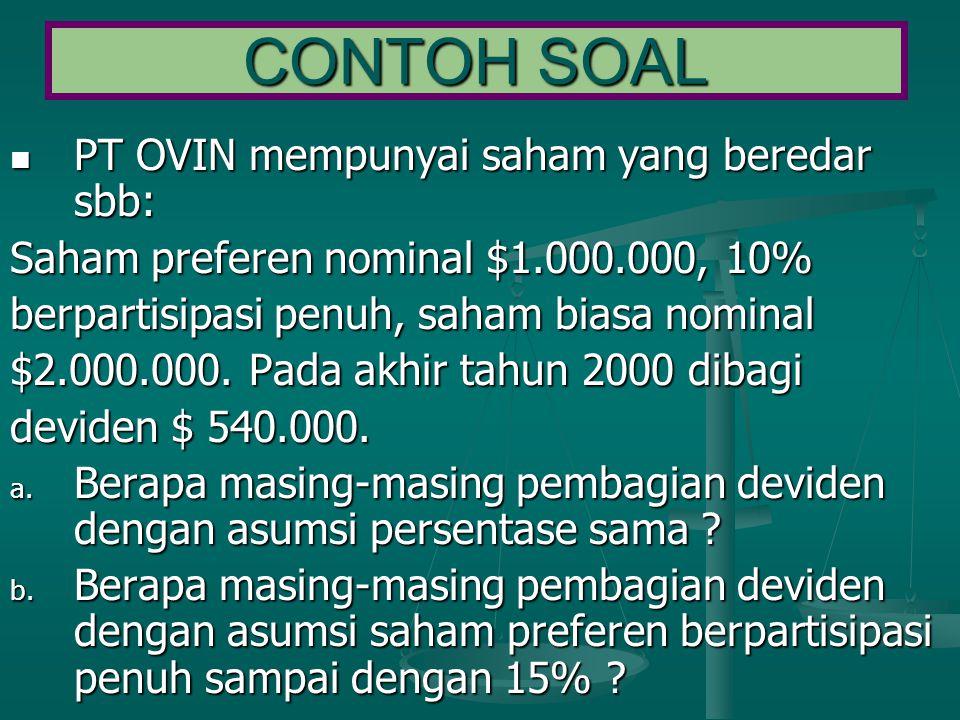 CONTOH SOAL PT OVIN mempunyai saham yang beredar sbb:
