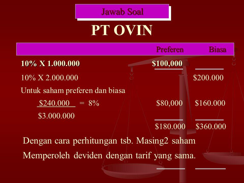 PT OVIN Jawab Soal Dengan cara perhitungan tsb. Masing2 saham