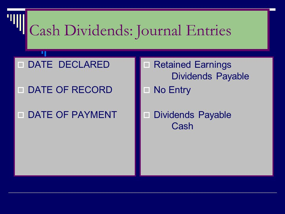 Cash Dividends: Journal Entries
