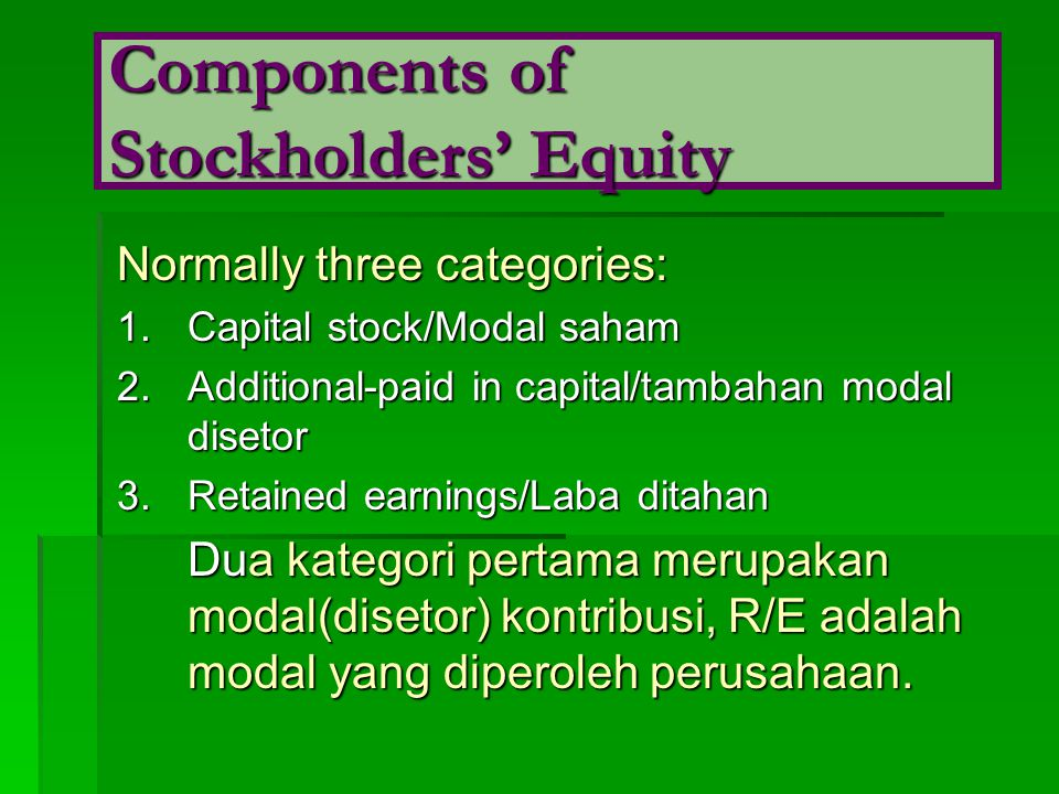 Components of Stockholders' Equity