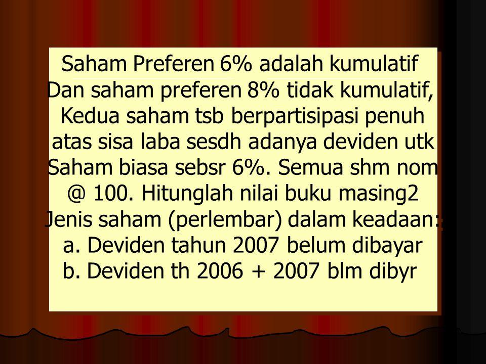 Saham Preferen 6% adalah kumulatif