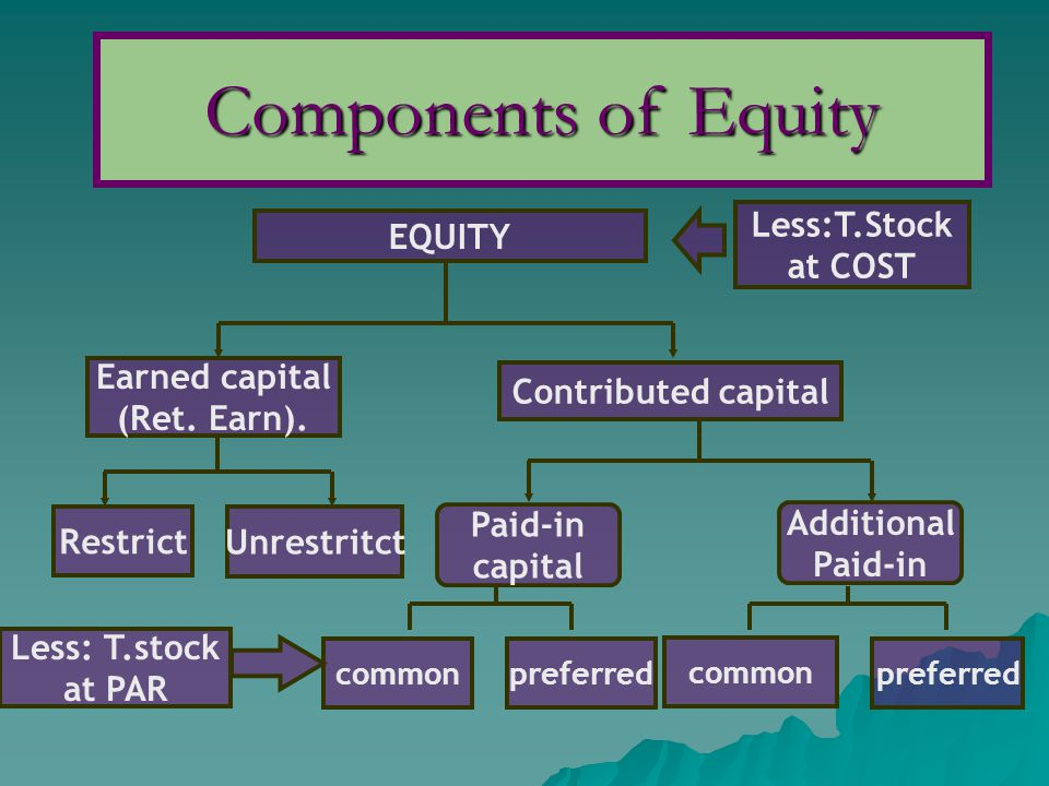 Components of Equity Less:T.Stock EQUITY at COST Earned capital