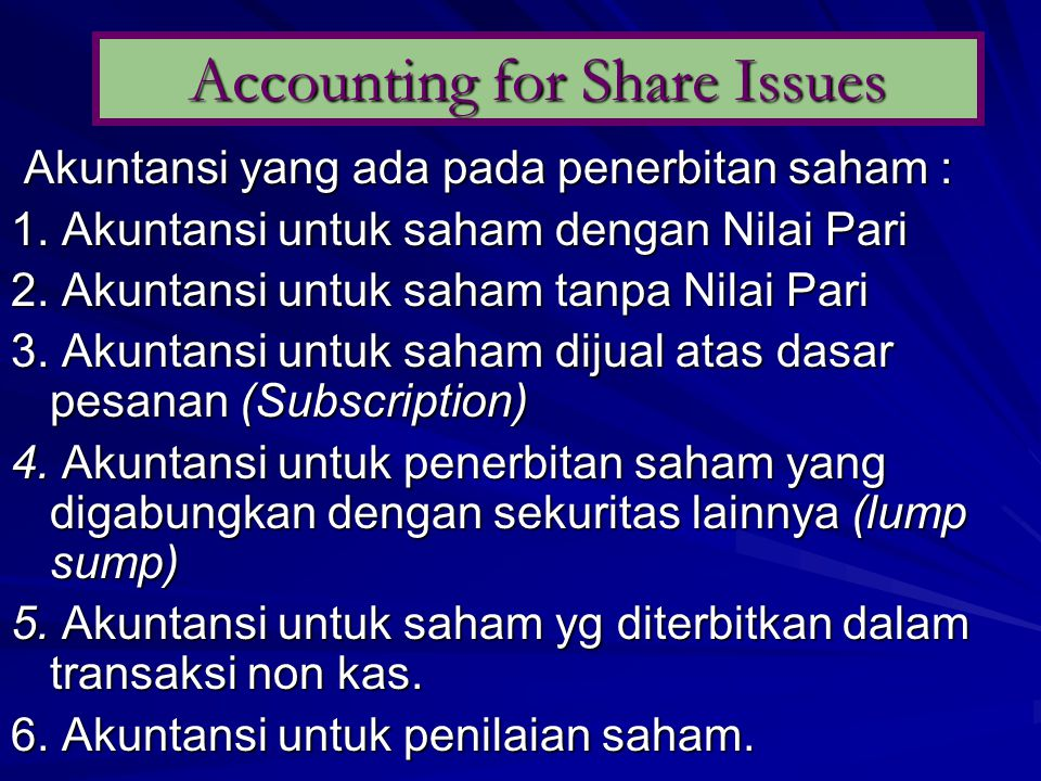 Accounting for Share Issues