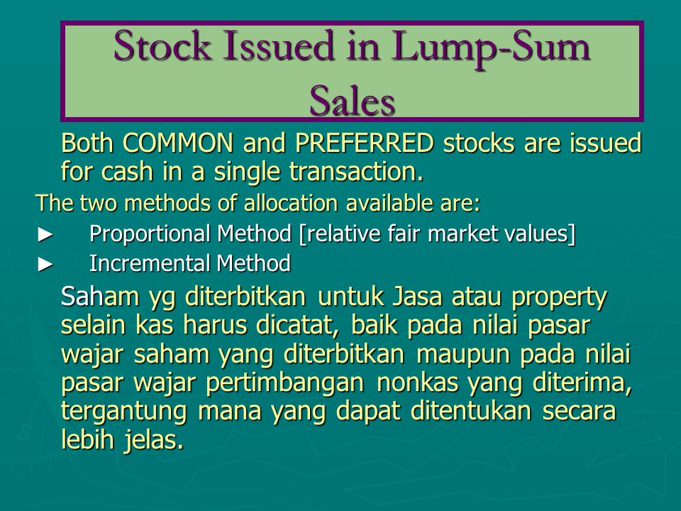 Stock Issued in Lump-Sum Sales