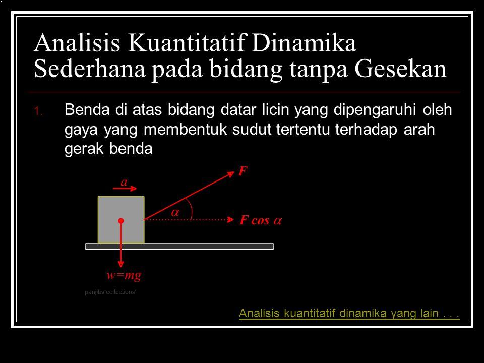 Analisis Kuantitatif Dinamika Sederhana pada bidang tanpa Gesekan