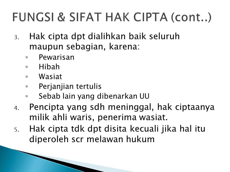 FUNGSI & SIFAT HAK CIPTA (cont..)