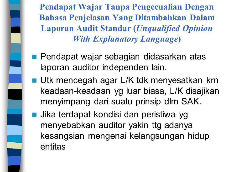 Pendapat Wajar Tanpa Pengecualian Dengan Bahasa Penjelasan Yang Ditambahkan Dalam Laporan Audit Standar (Unqualified Opinion With Explanatory Language)