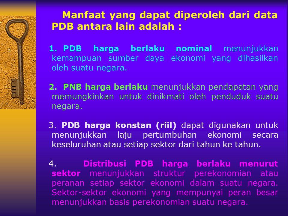 Manfaat yang dapat diperoleh dari data PDB antara lain adalah :