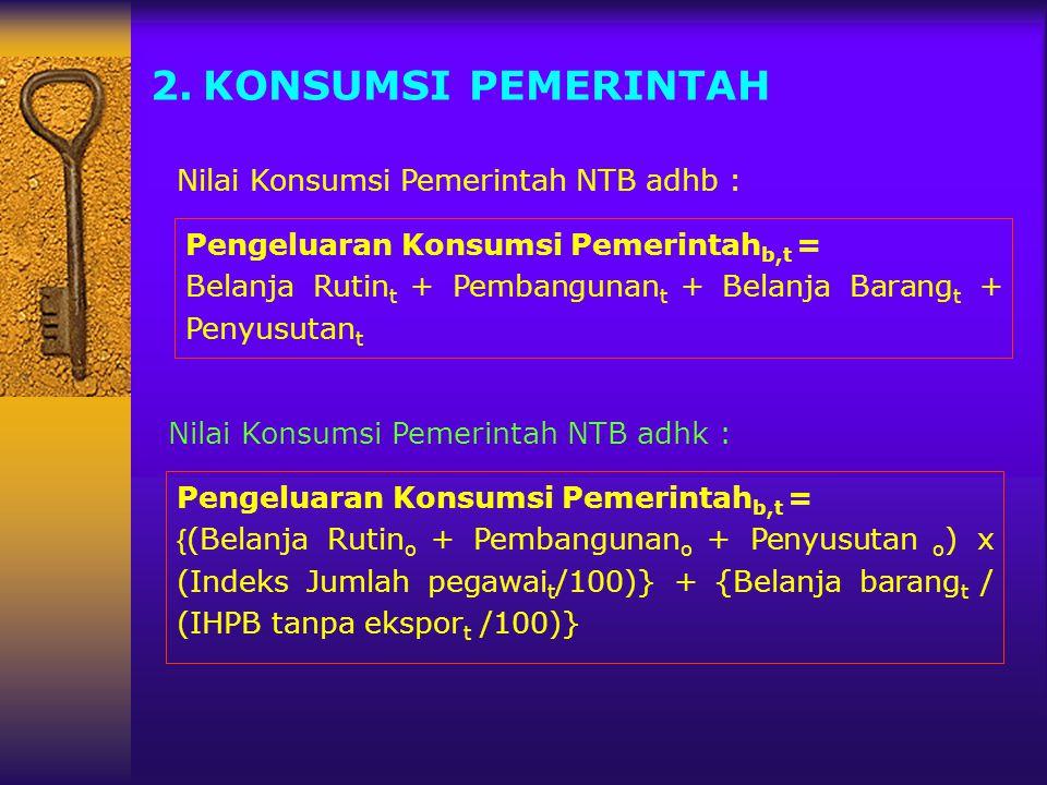 KONSUMSI PEMERINTAH Nilai Konsumsi Pemerintah NTB adhb :