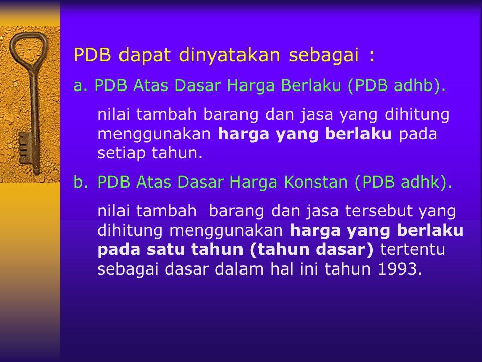 PDB dapat dinyatakan sebagai :
