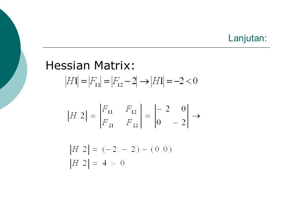 Lanjutan: Hessian Matrix: