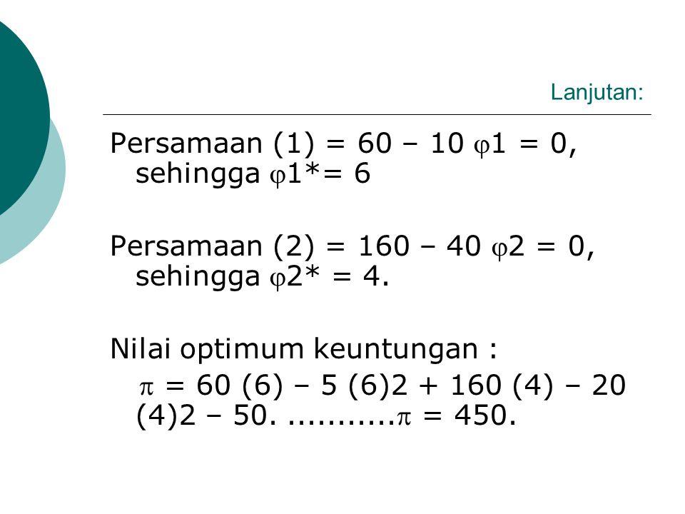 Persamaan (1) = 60 – 10 1 = 0, sehingga 1*= 6