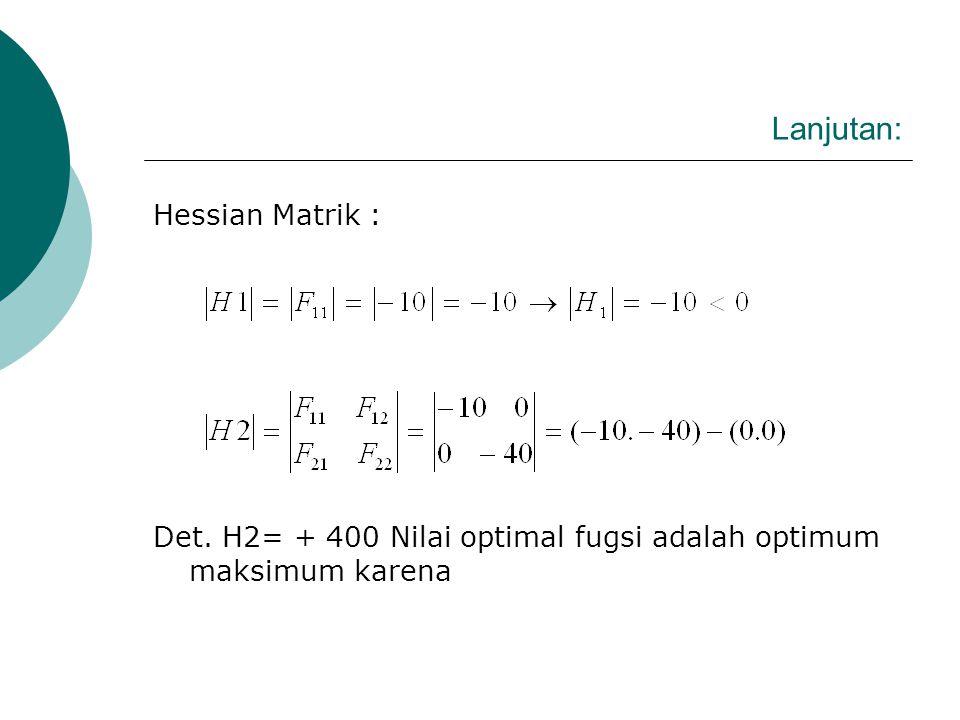 Lanjutan: Hessian Matrik :