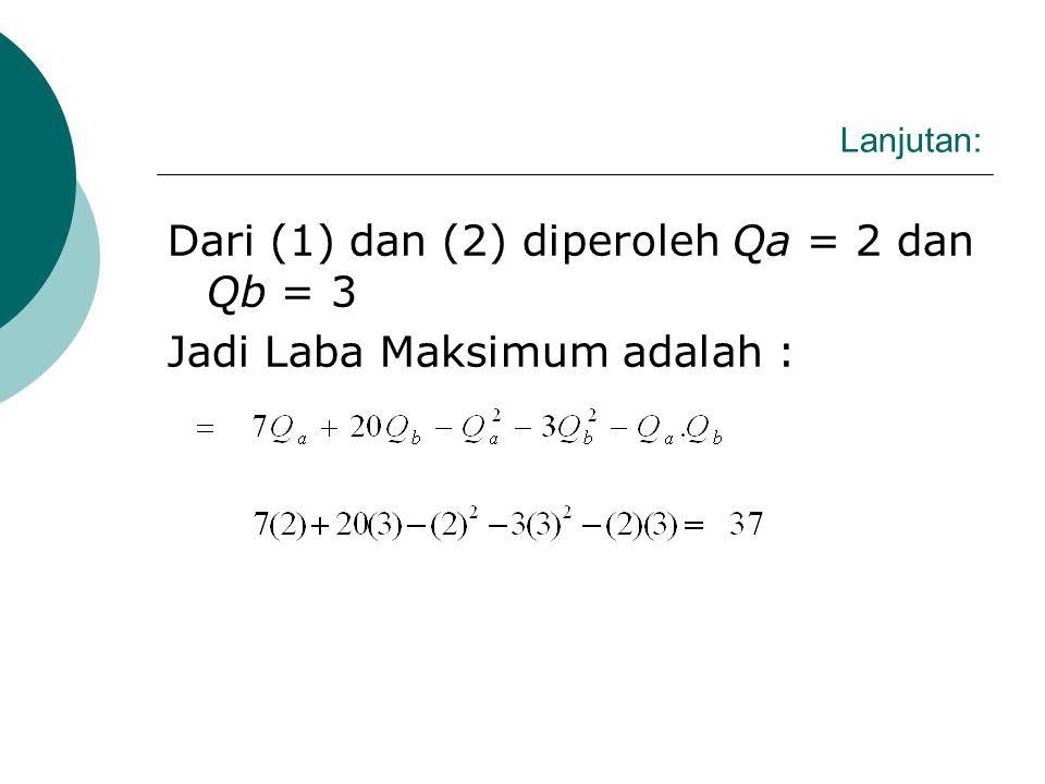 Dari (1) dan (2) diperoleh Qa = 2 dan Qb = 3