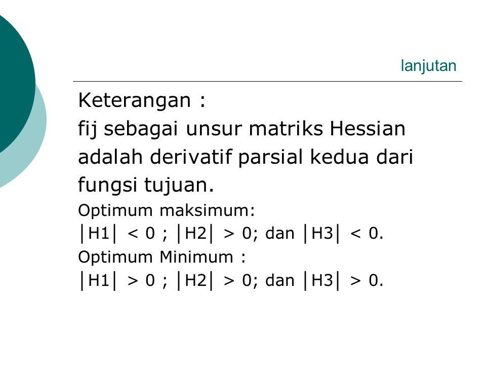 fij sebagai unsur matriks Hessian adalah derivatif parsial kedua dari