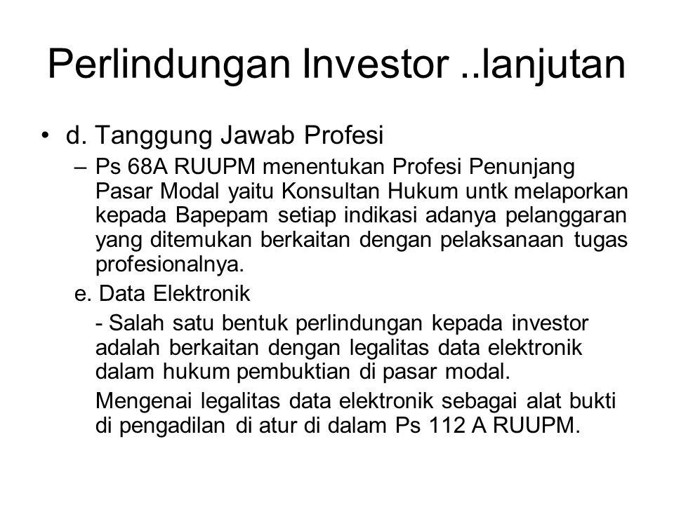 Perlindungan Investor ..lanjutan
