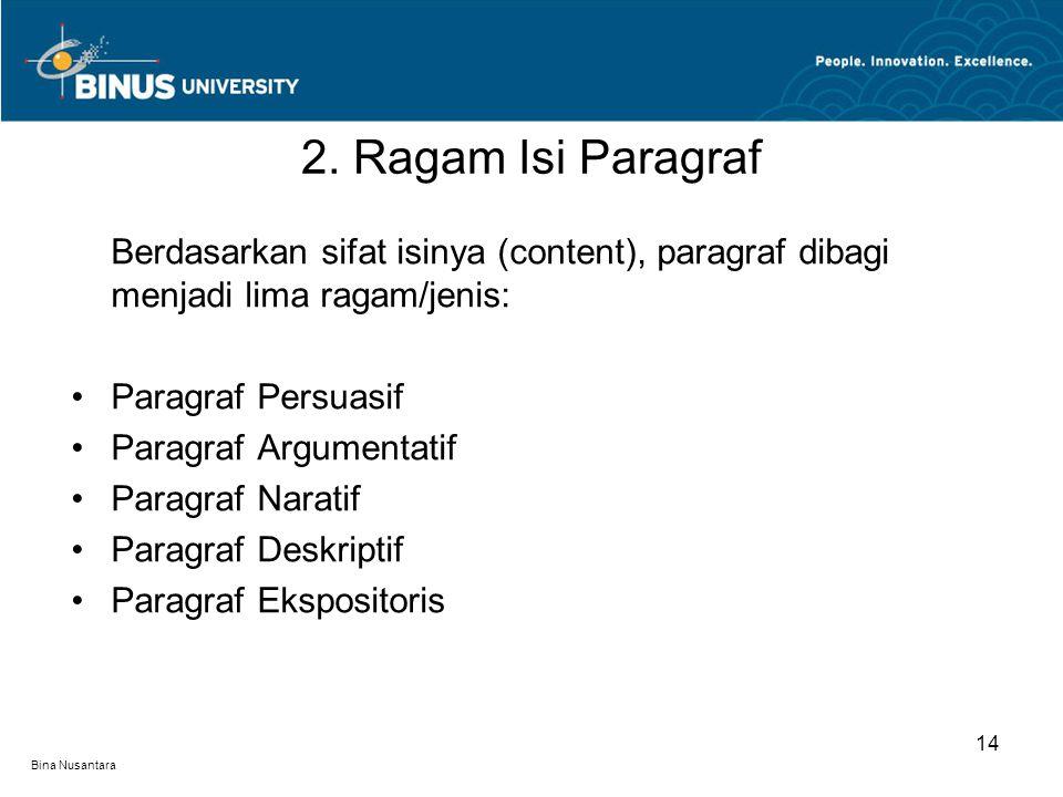2. Ragam Isi Paragraf Berdasarkan sifat isinya (content), paragraf dibagi menjadi lima ragam/jenis: