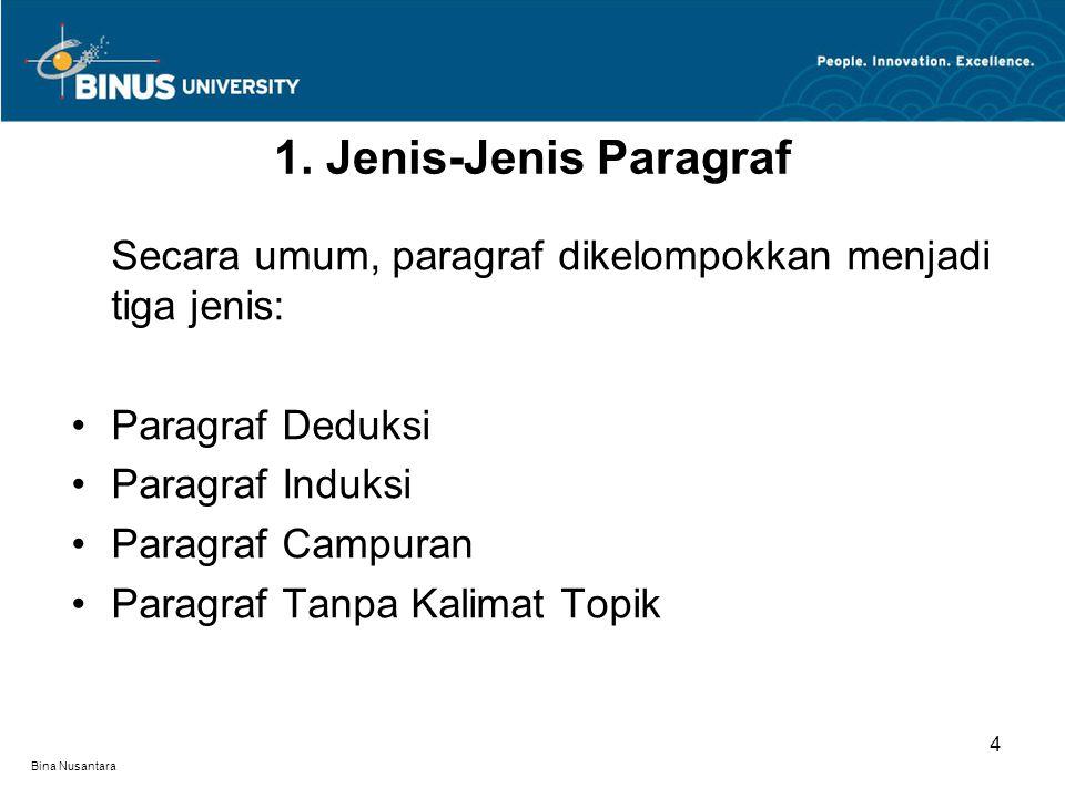1. Jenis-Jenis Paragraf Secara umum, paragraf dikelompokkan menjadi tiga jenis: Paragraf Deduksi. Paragraf Induksi.