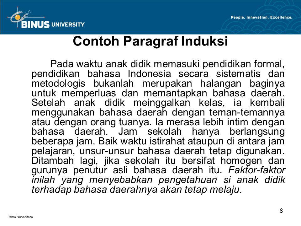 Contoh Paragraf Induksi