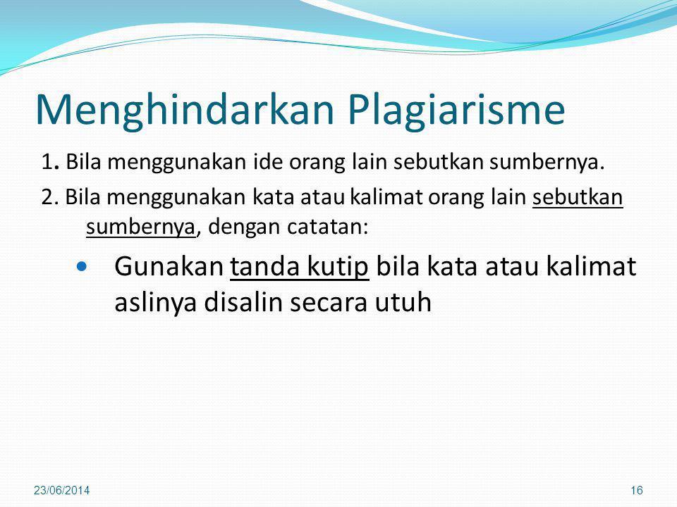 Menghindarkan Plagiarisme