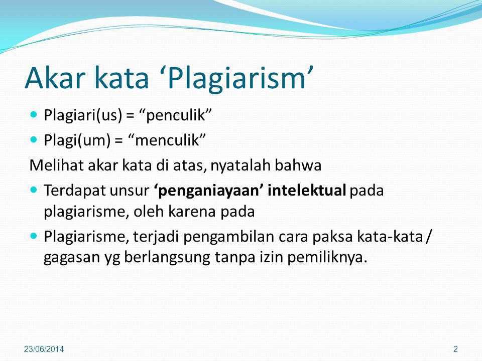 Akar kata 'Plagiarism'