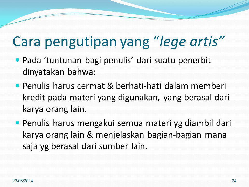 Cara pengutipan yang lege artis
