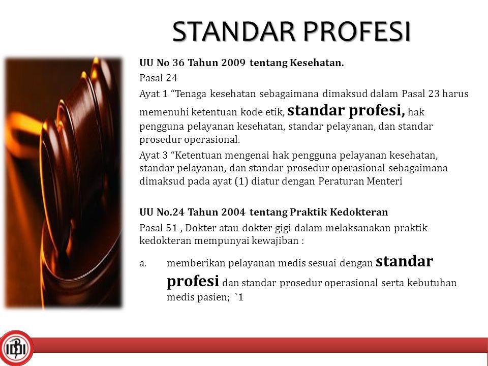 STANDAR PROFESI UU No 36 Tahun 2009 tentang Kesehatan. Pasal 24