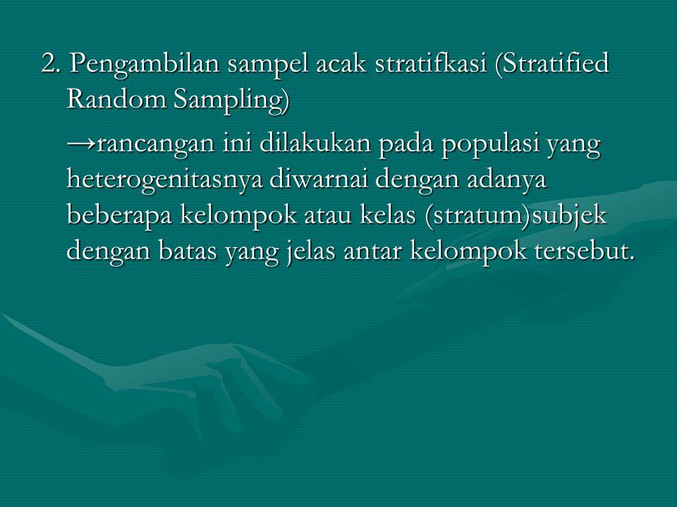 2. Pengambilan sampel acak stratifkasi (Stratified Random Sampling)