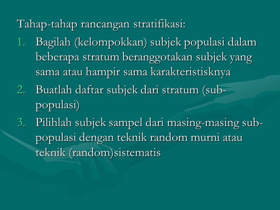 Tahap-tahap rancangan stratifikasi: