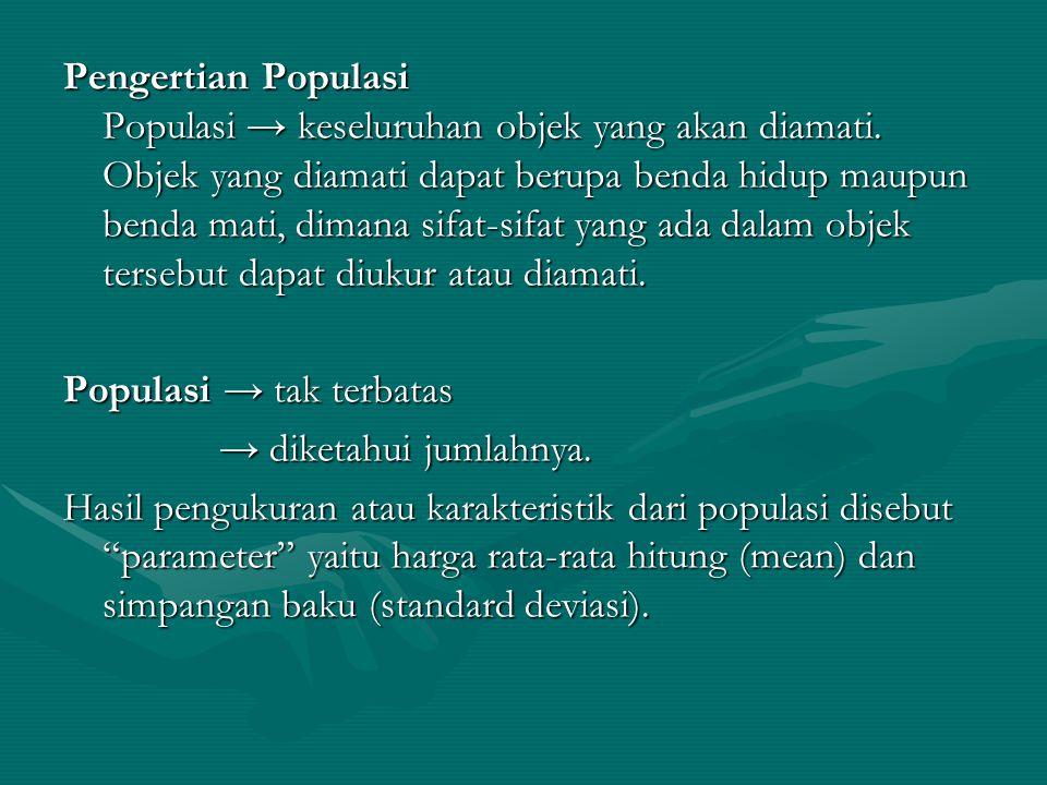 Pengertian Populasi Populasi → keseluruhan objek yang akan diamati