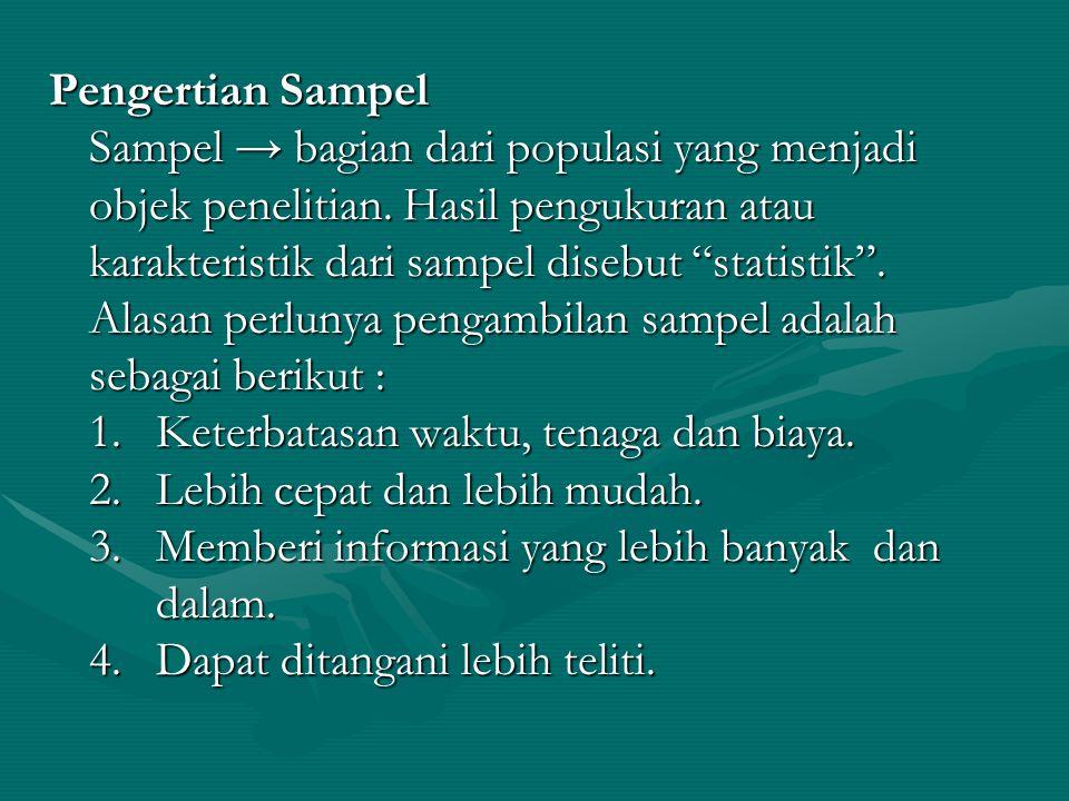 Pengertian Sampel Sampel → bagian dari populasi yang menjadi objek penelitian.