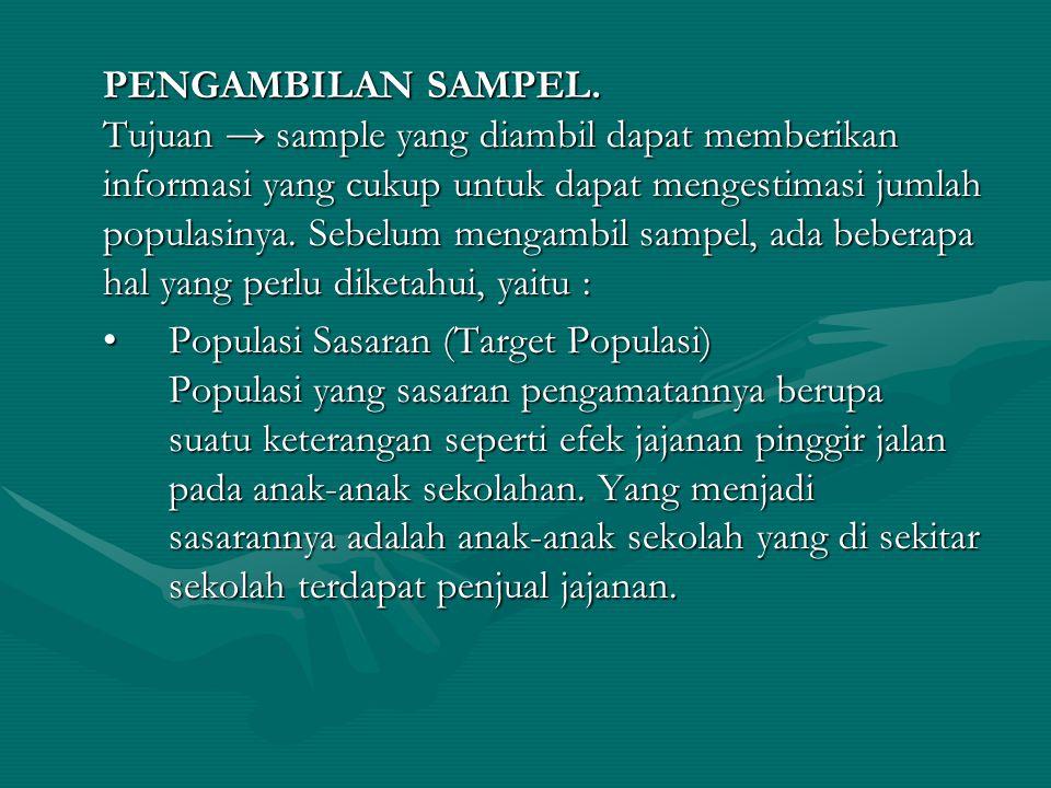 PENGAMBILAN SAMPEL. Tujuan → sample yang diambil dapat memberikan informasi yang cukup untuk dapat mengestimasi jumlah populasinya. Sebelum mengambil sampel, ada beberapa hal yang perlu diketahui, yaitu :