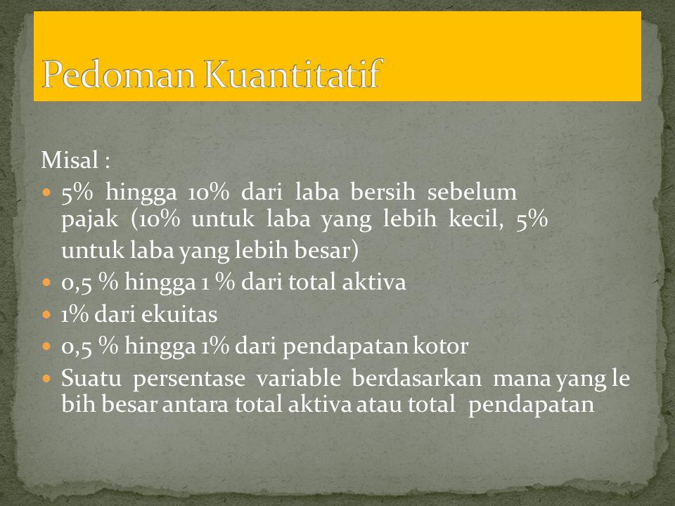 Pedoman Kuantitatif Misal :