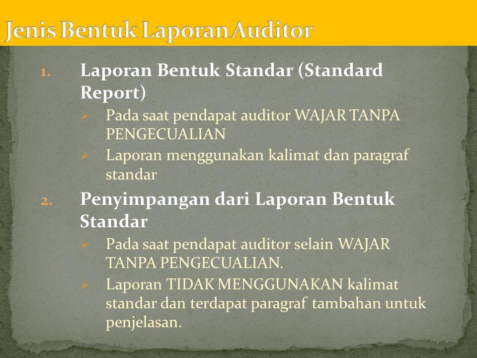 Jenis Bentuk Laporan Auditor