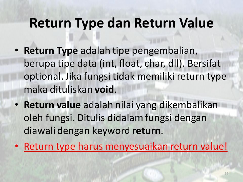 Return Type dan Return Value