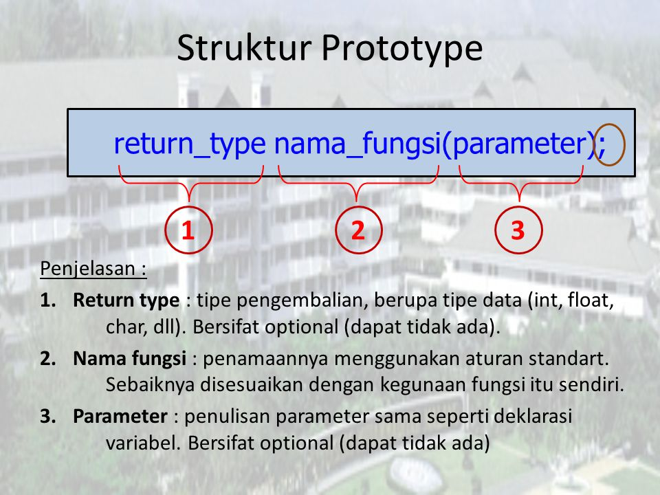 return_type nama_fungsi(parameter);