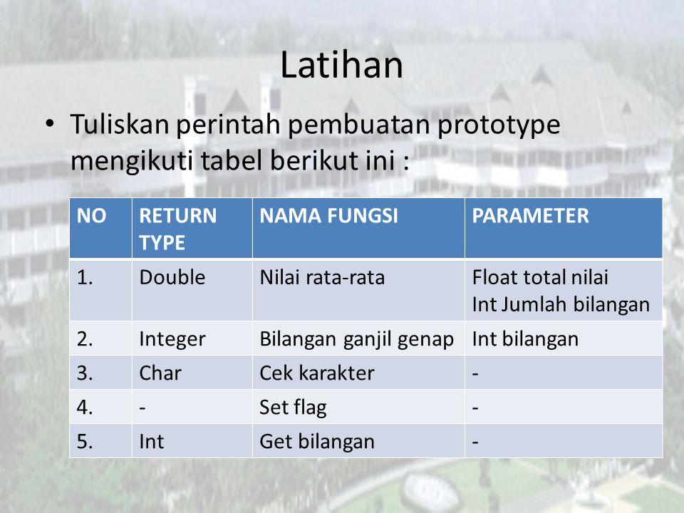 Latihan Tuliskan perintah pembuatan prototype mengikuti tabel berikut ini : NO. RETURN TYPE. NAMA FUNGSI.