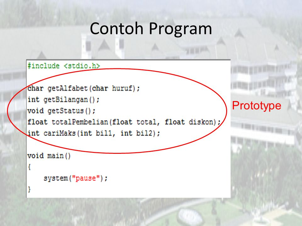 Contoh Program Prototype