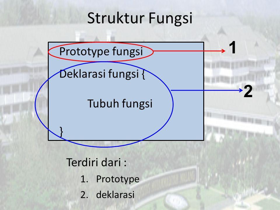 Struktur Fungsi 1 2 Prototype fungsi Deklarasi fungsi { Tubuh fungsi }