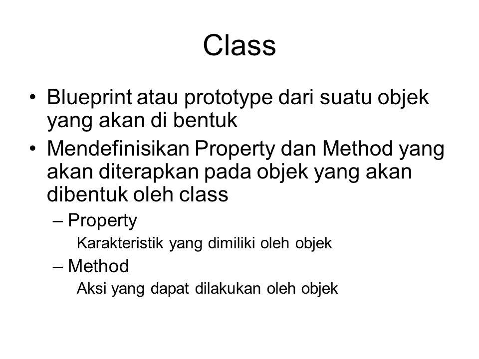 Class Blueprint atau prototype dari suatu objek yang akan di bentuk
