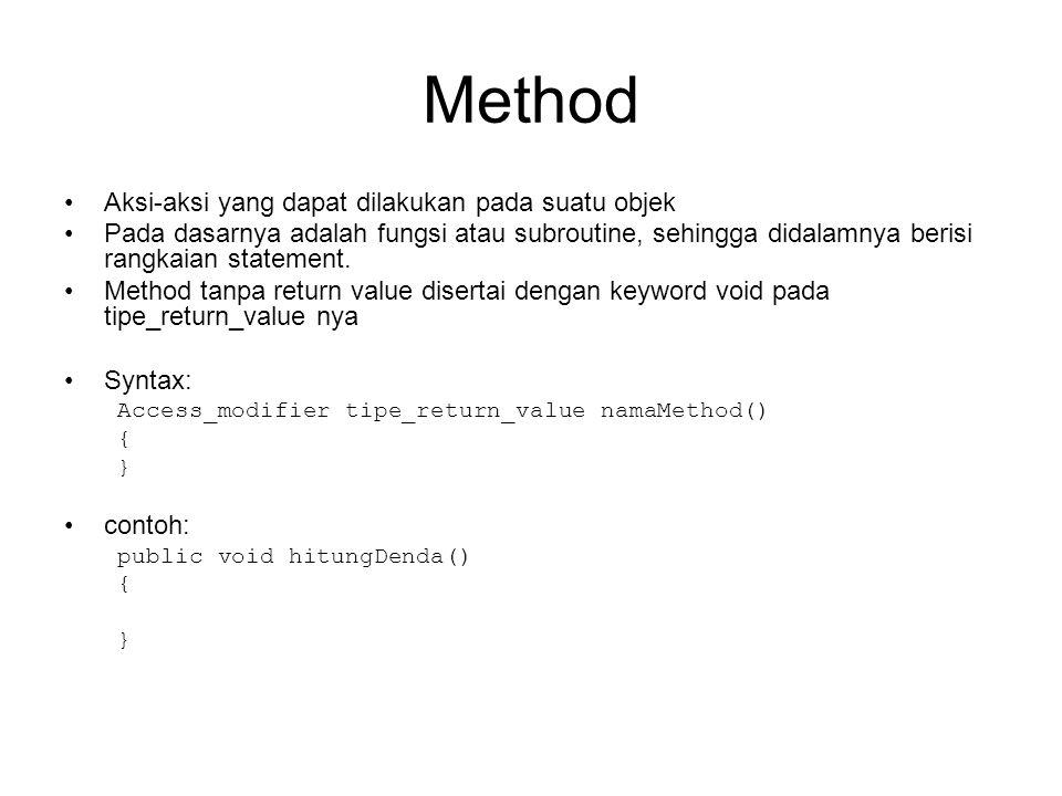 Method Aksi-aksi yang dapat dilakukan pada suatu objek